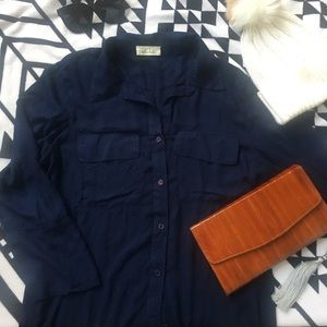 Navy blue Bella Dahl button down shirt L